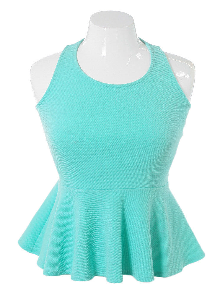 Plus Size Criss Cross Peplum Mint Top