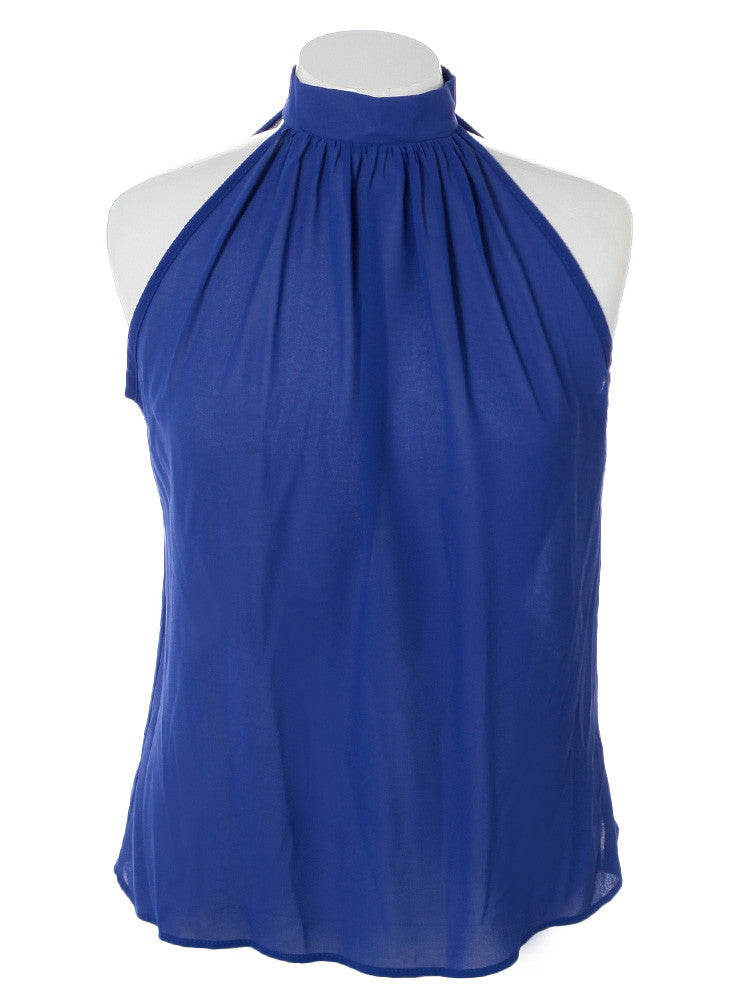 Plus Size Butterfly Back Sheer Blue Top