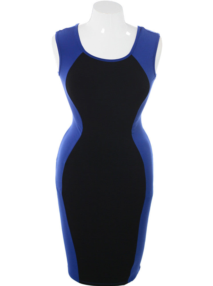 Plus Size Sexy Colorblock Midi Blue Dress