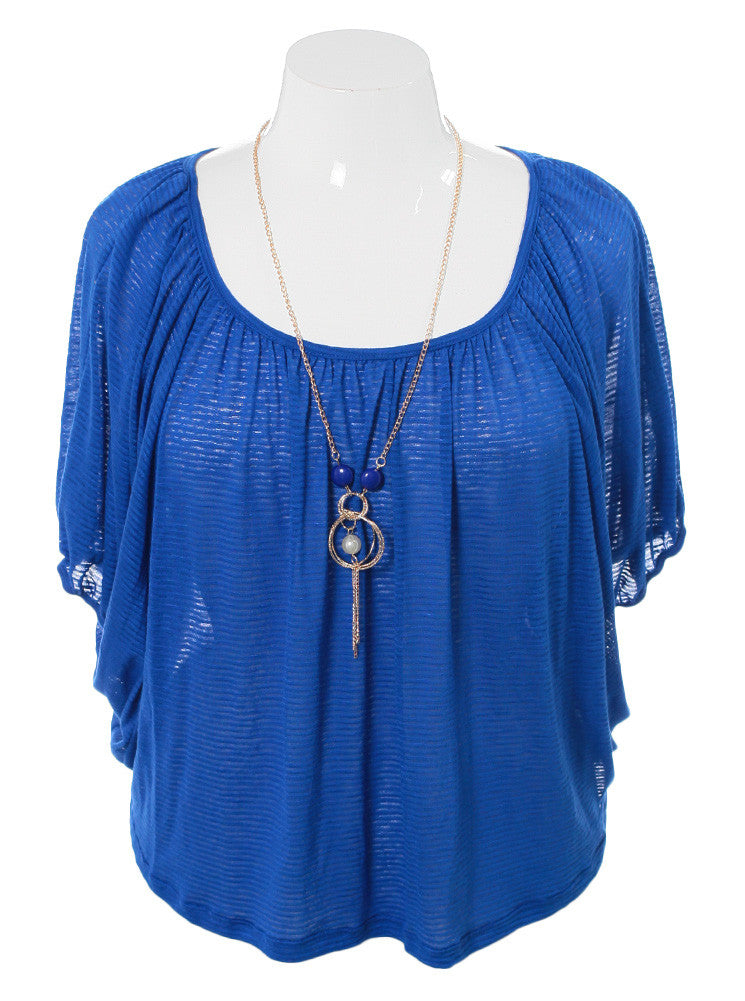Plus Size Lovely Jeweled Blue Top