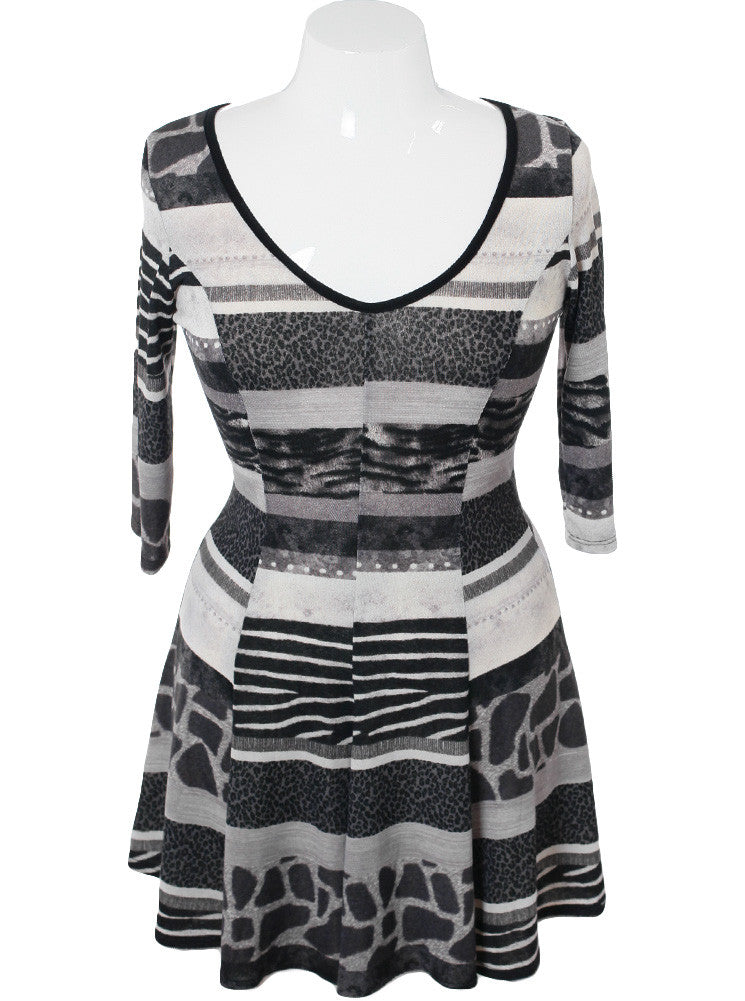 Plus Size Animal Print Tunic Grey Dress
