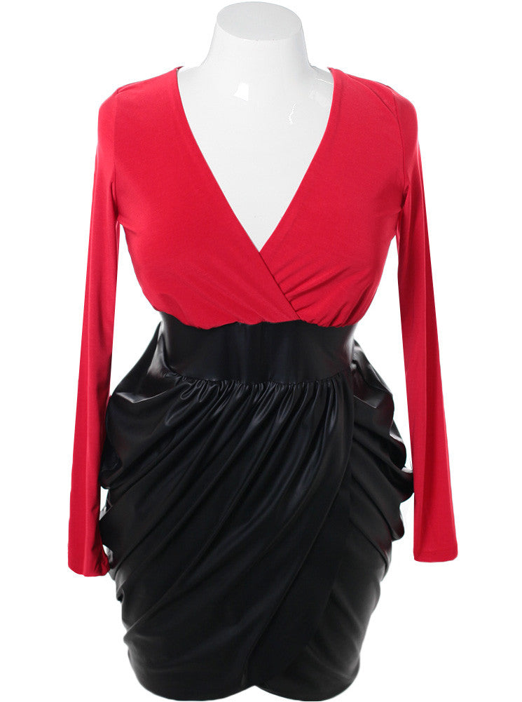 Plus Size Bubble Leather Skirt Red Dress