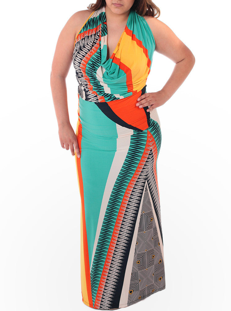 Plus Size Silky Abstract Cowl Neck Maxi Dress