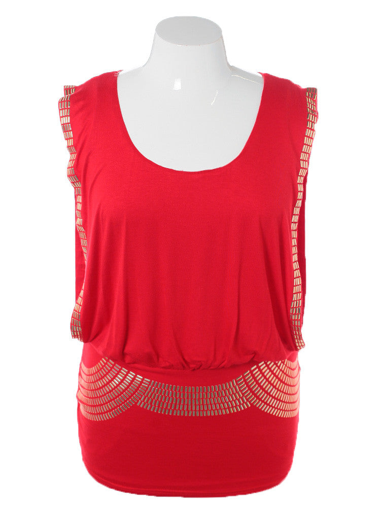 Plus Size Sleeveless Gold Studded Long Red Top