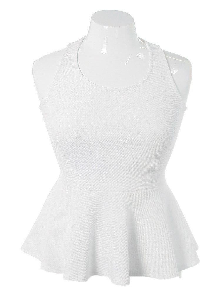 Plus Size Criss Cross Peplum White Top