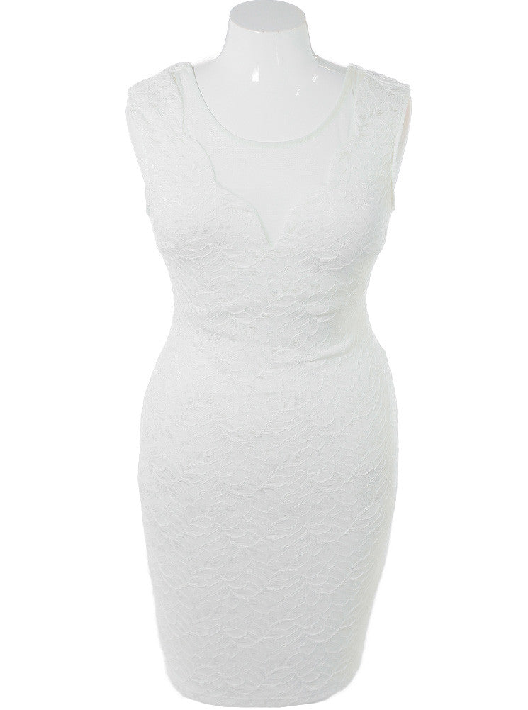 Plus Size Textured Scuba Mesh White Dress