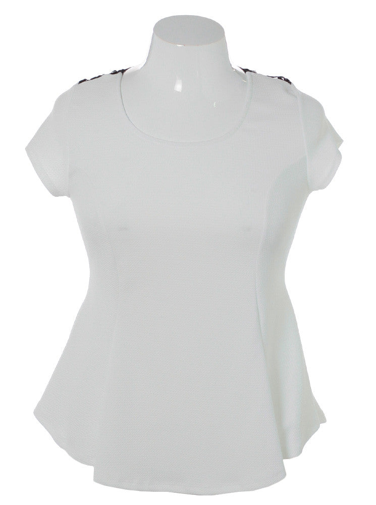 Plus Size See Through Back Flare White Top