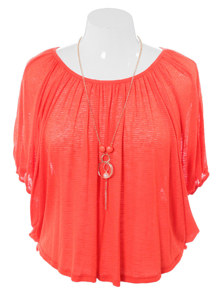 Plus Size Lovely Jeweled Coral Top