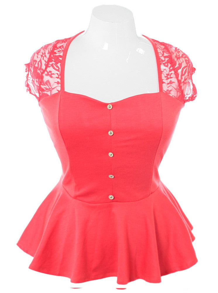 Plus Size Peplum Lace Coral Top