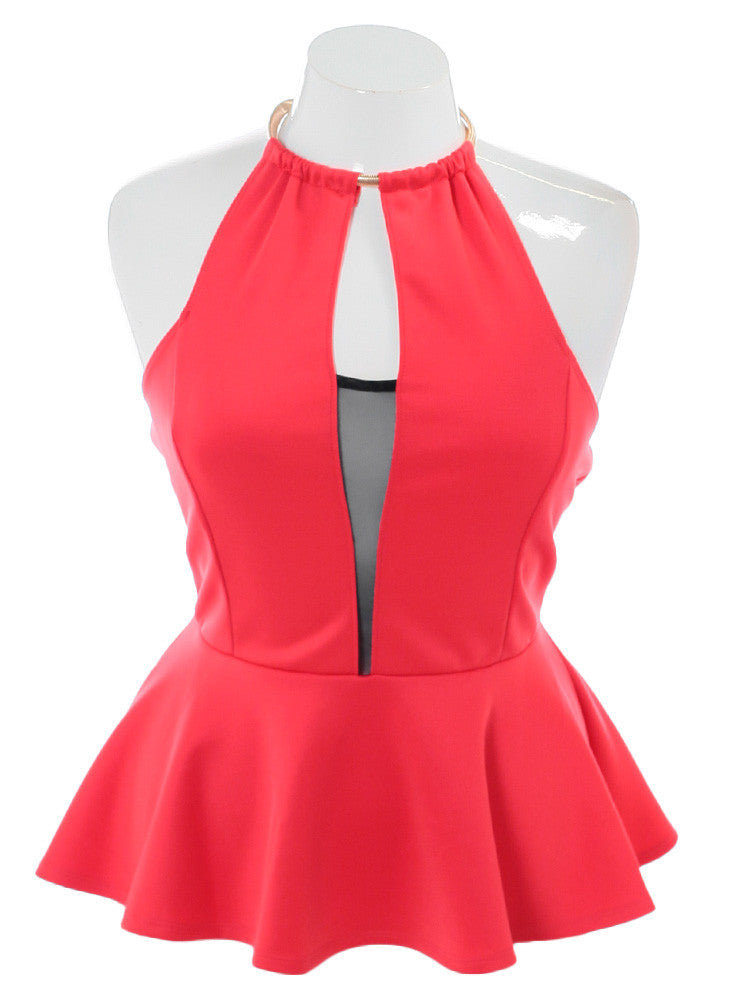 Plus Size Sultry Pursuit Peplum Coral Top
