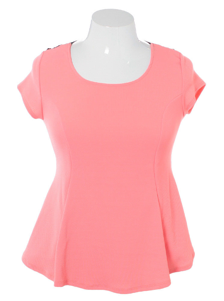 Plus Size See Through Back Flare Pink Top