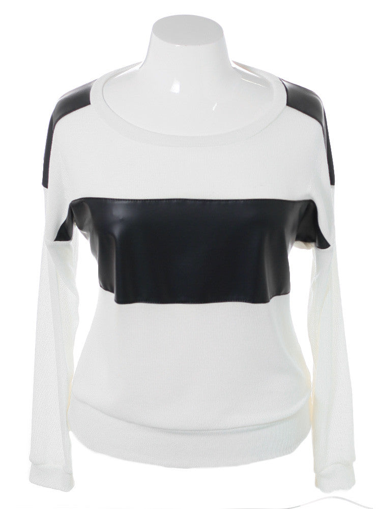Plus Size Leather Panel White Knit Top
