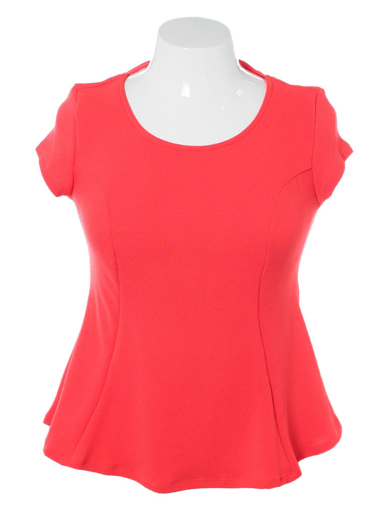 Plus Size Braid Cut Out Back Coral Top