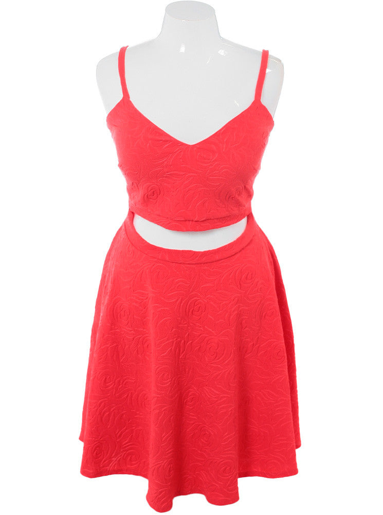 Plus Size Midriff Cut Out Floral Coral Dress