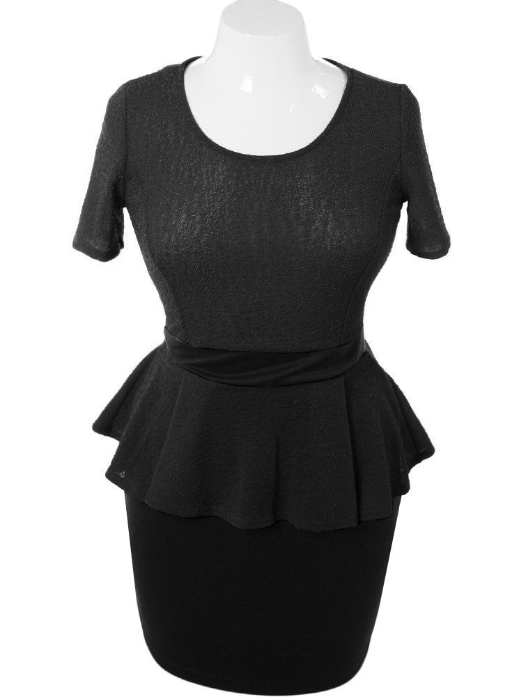 Plus Size Textured Peplum Short Sleeve Black Dress