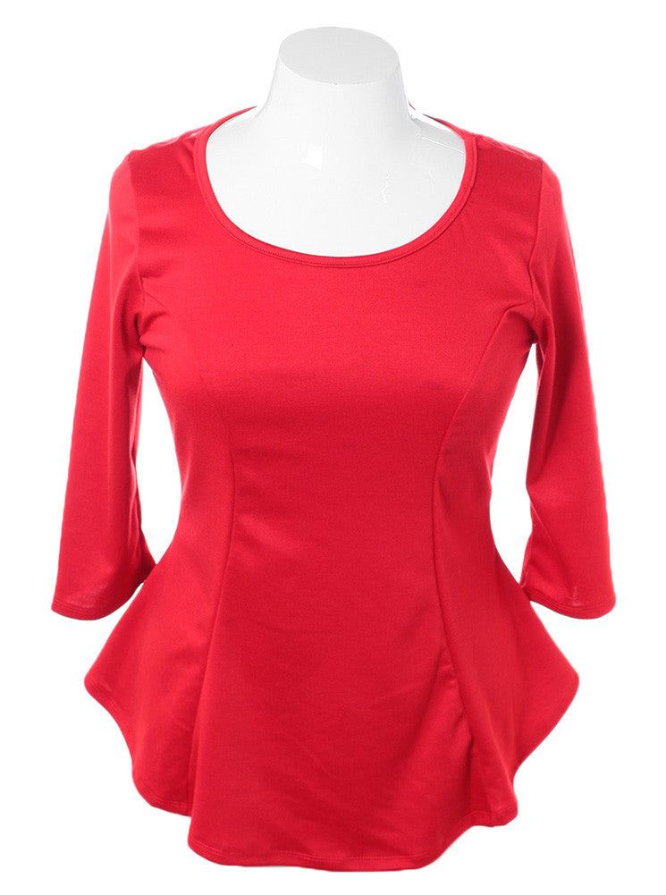 Plus Size See Through Back Bow Red Top