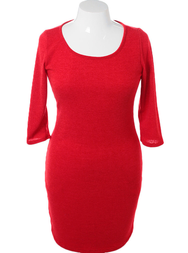 Plus Size Soft Sweater Red Cocktail Dress