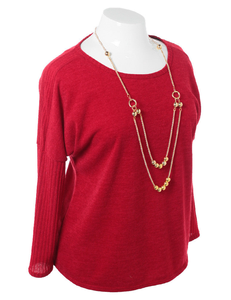 Plus Size Necklace Long Sleeve Red Top