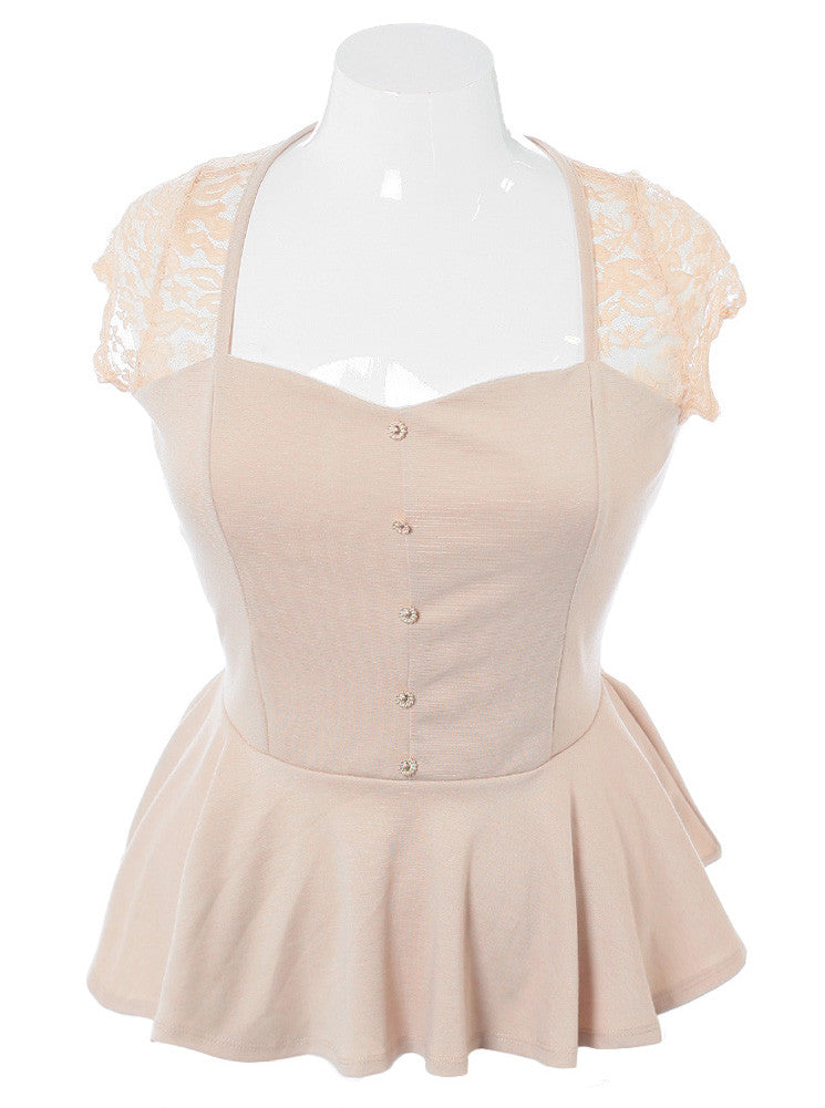 Plus Size Peplum Lace Tan Top