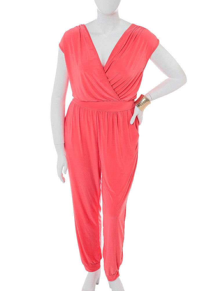 Plus Size Pleasure Trip Coral Jumpsuit