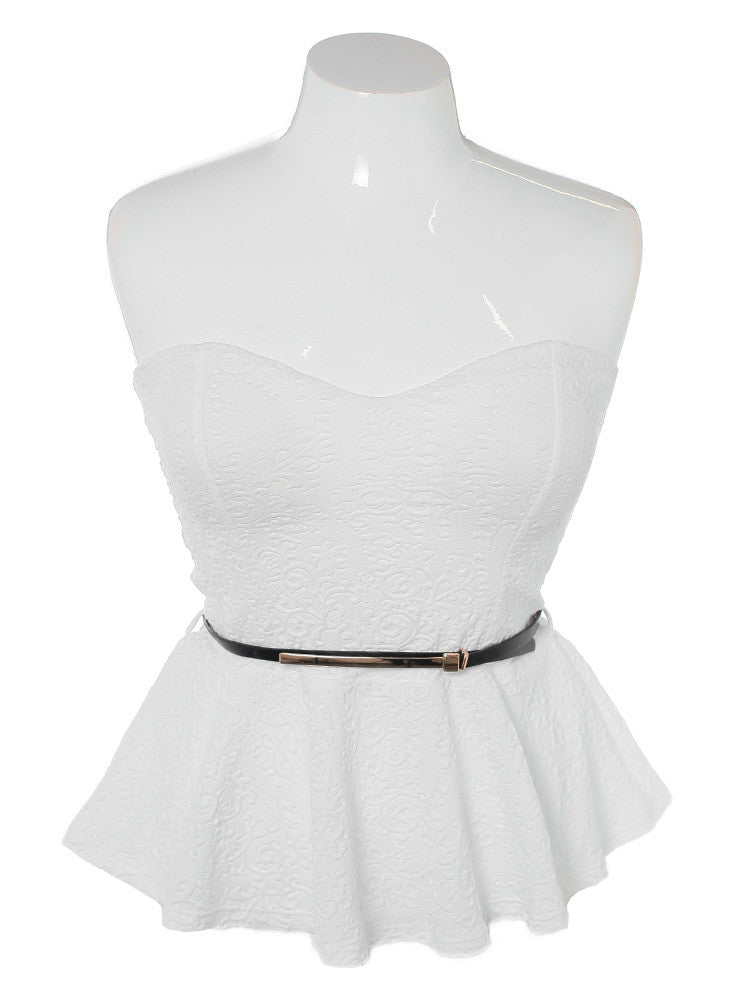 Plus Size Belted Peplum Textured White Top