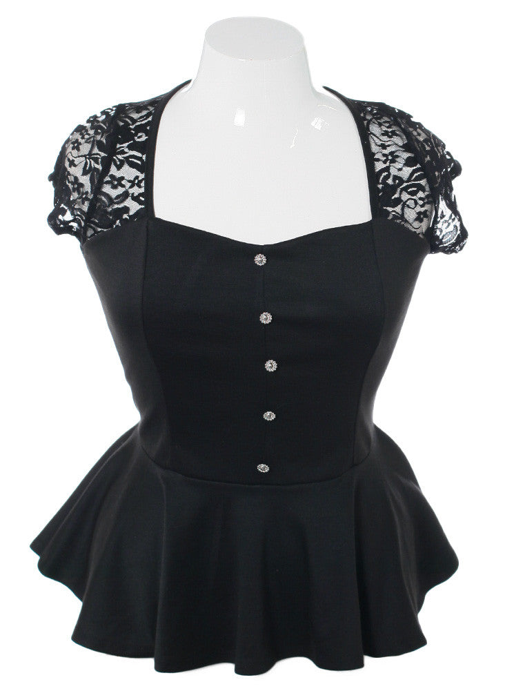 Plus Size Peplum Lace Black Top