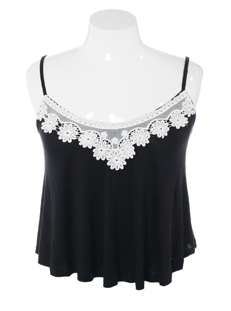 Plus Size Breezy Knit Floral Lace Black Cami
