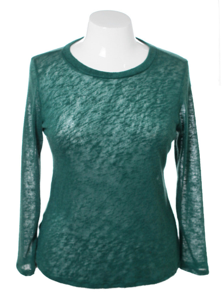 Plus Size See Through Back Green Long Sleeve