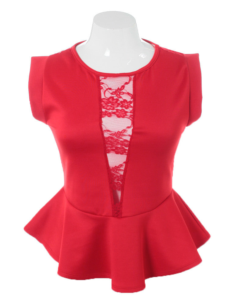 Plus Size Seductive Lace V Peplum Red Top