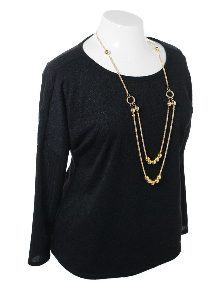 Plus Size Necklace Long Sleeve Black Top