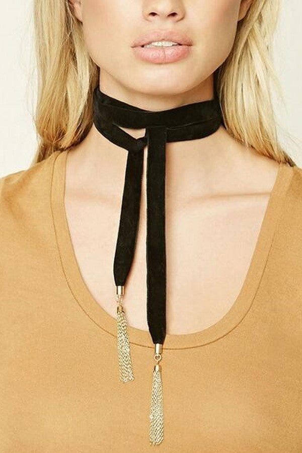 Trendy Long Wide Velvet Gold Plated - Black