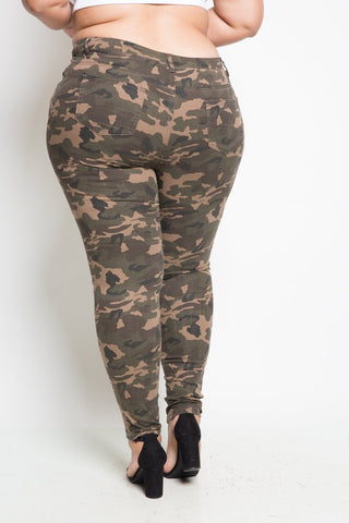 Plus Size Hole Ripped Camo Skinny Jeans