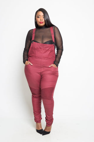 Plus Size Denim Pocket Pants Overall