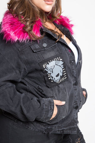 Plus Size Black And Pink Fur Jacket