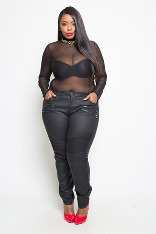 Plus Size Mid-Waist Black Denim