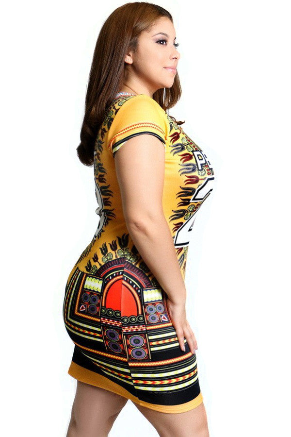 Perfect Tribal Print Scuba Bodycon Plus Size Dress