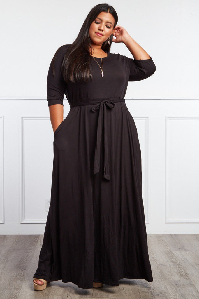 Plus Size Gorgeous Belted Maxi Dress