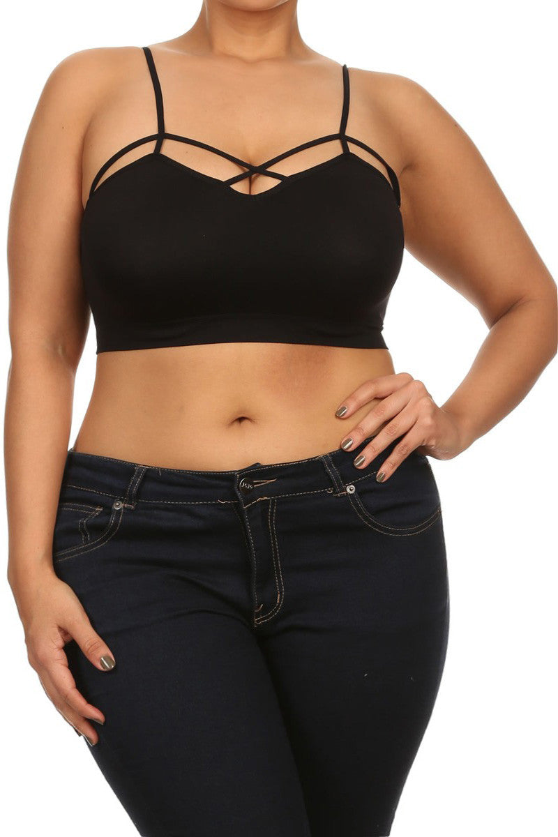 Hot Strappy Neckline Plus Size Crop Top