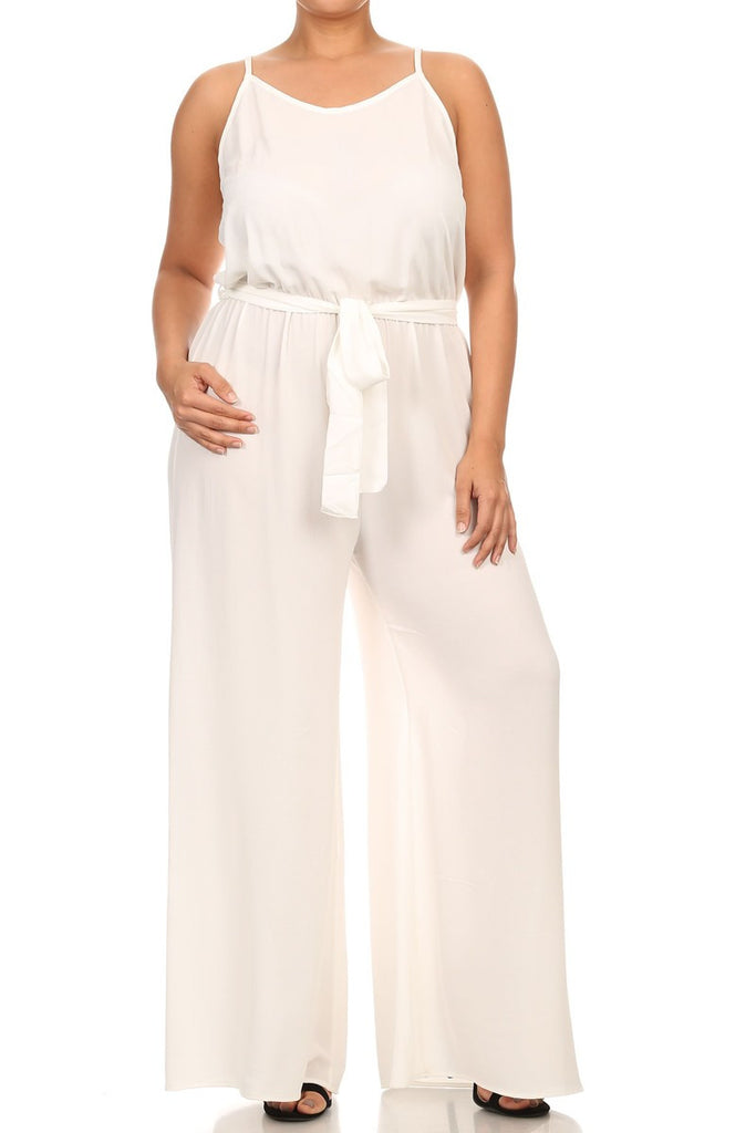 Plus Size Sexy Waterfall Back Chiffon Jumpsuit