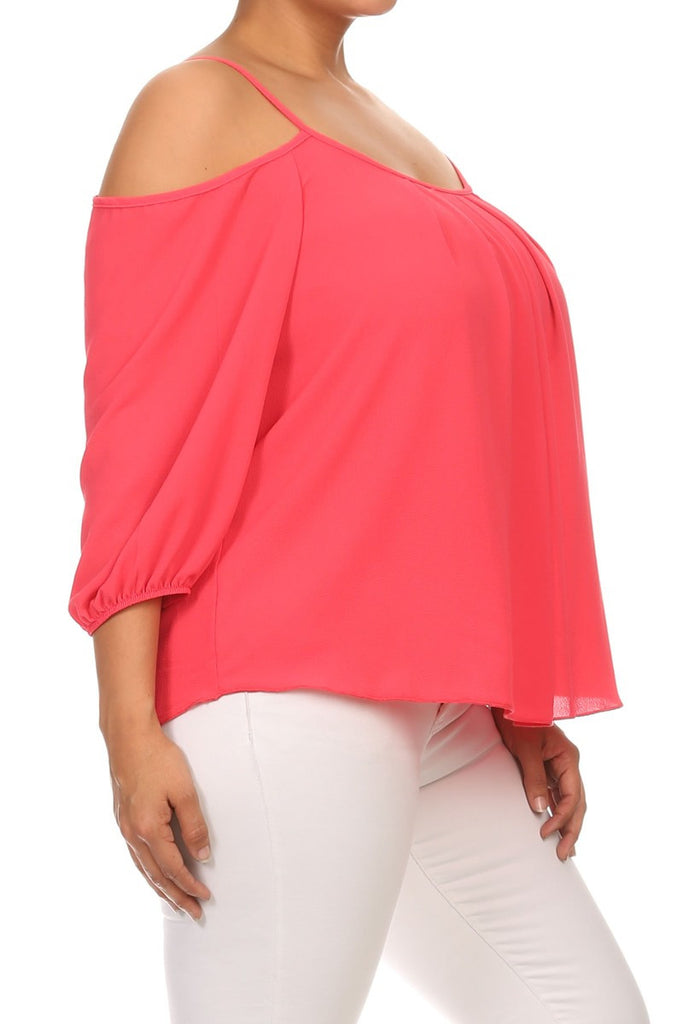 Plus Size Cut Out Shoulders Sexy Top