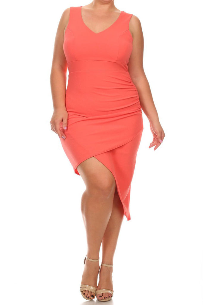 Plus Size Sexy Solid Body-con Sleeveless Dress