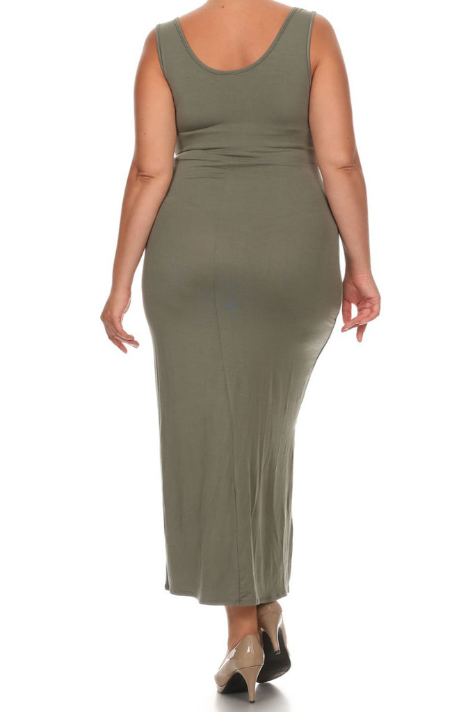 Sexy Overlapping Knot Front  Plus Size Dress