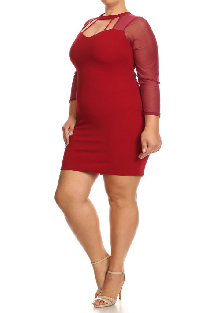 Strappy Neckline Mesh Sleeves Plus Size Dress