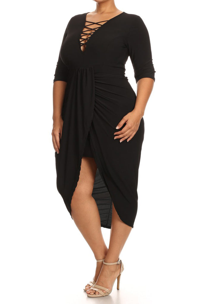 Nightfall Romance Lace Up Plus Size Dress