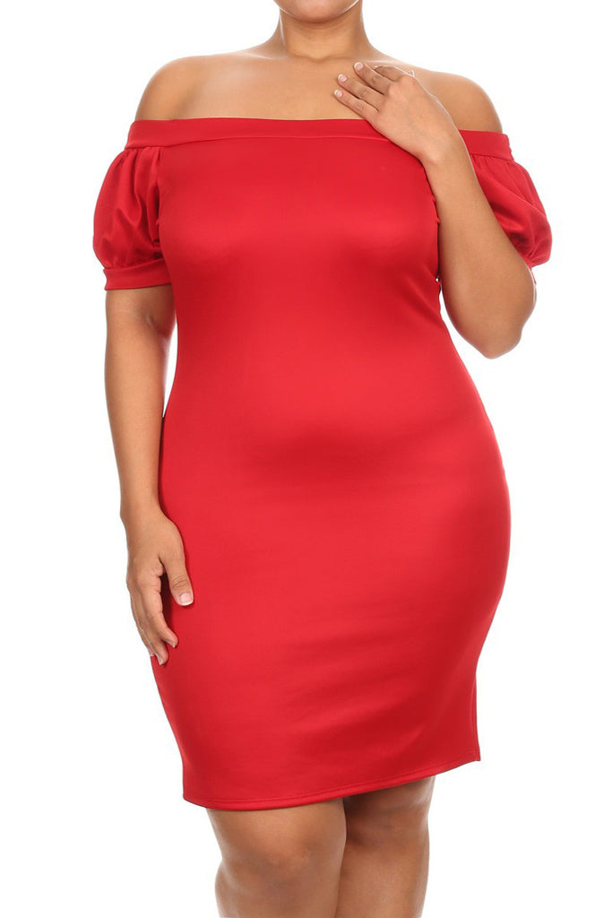 Boat Neck Sexy Bodycon Plus Size Dress