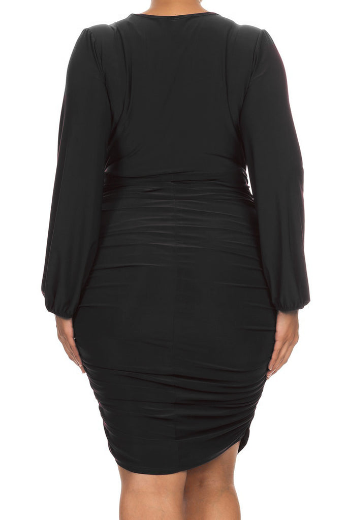 Ruched Beauty Deep V Plus Size Dress