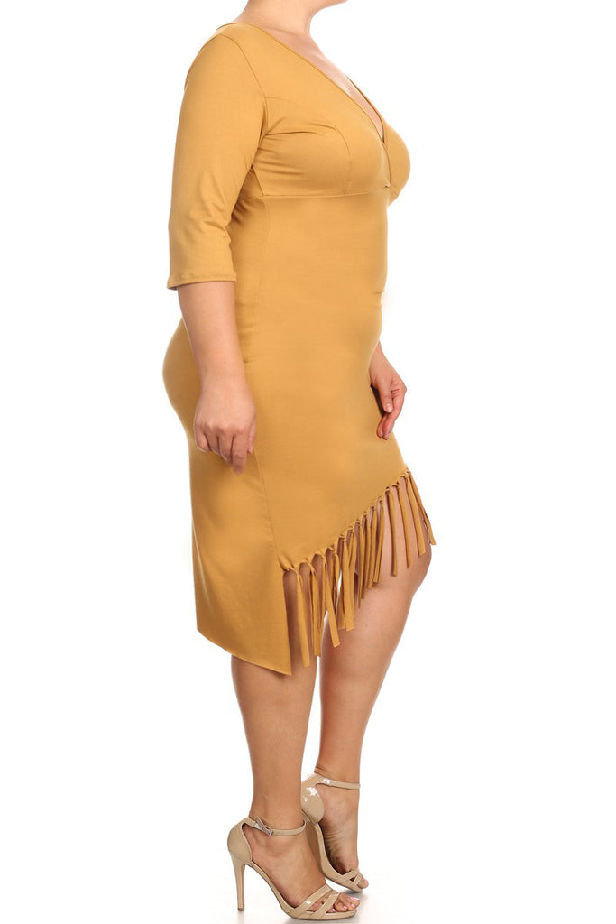 Cutey Fringe V Neck Asymmetric Plus Size Dress