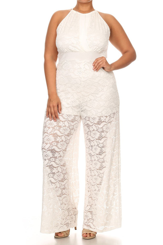29e1058efff Wide Leg Lace Sleeveless Plus Size Jumpsuit – Plussizefix