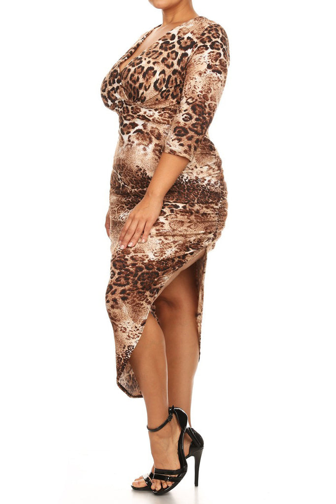 Fierce Cheetah V Neck Plus Size Maxi Dress