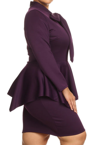 Long Sleeve Peplum Bow Plus Size Mini Dress